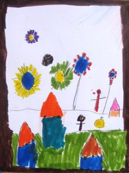 Drawing of homes from Sele Enat Orphanage